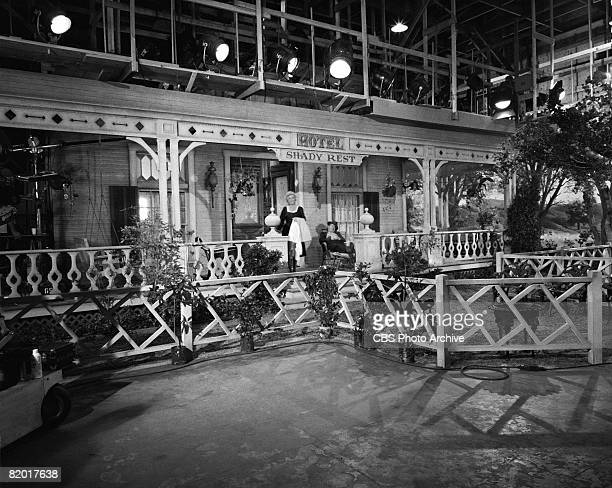American actors Bea Benaderet as Kate Bradley and Edgar Buchanan as Joseph P 'Uncle Joe' Carson on the set during the filming of an episode of the...