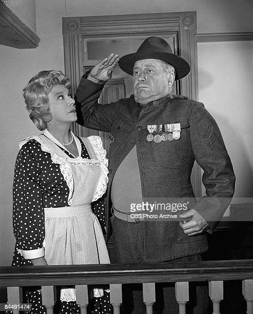 American actors Bea Benaderet as Kate Bradley and Edgar Buchanan as Joseph P 'Uncle Joe' Carson appear in an episode of the television series...