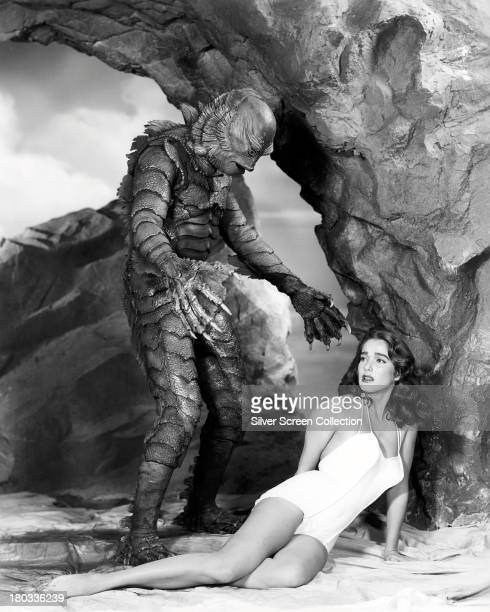 American actors Ben Chapman as Gillman and Julie Adams as Kay Lawrence in a promotional still for 'Creature From The Black Lagoon' directed by Jack...