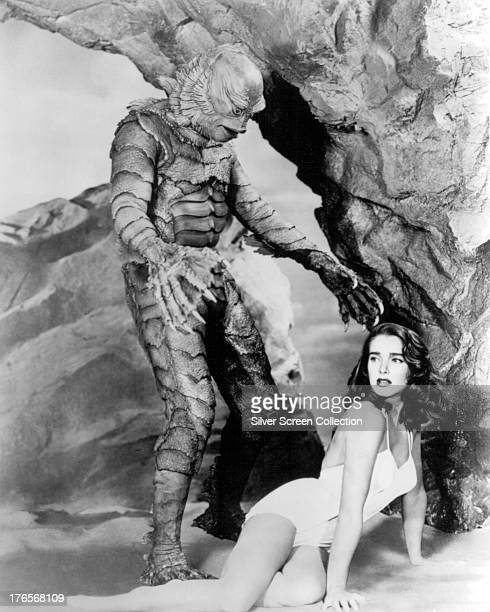 American actors Ben Chapman as Gillman and Julie Adams as Kay Lawrence in 'Creature From The Black Lagoon' directed by Jack Arnold 1954