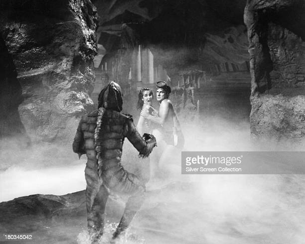 American actors Ben Chapman as Gillman Julie Adams as Kay Lawrence and Richard Carlson as Dr David Reed in 'Creature From The Black Lagoon' directed...