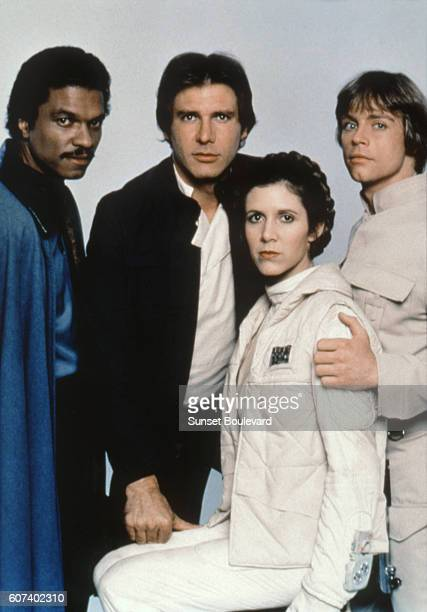 American actors Billy Dee Williams Harrison Ford Carrie Fisher and Mark Hamill on the set of Star Wars Episode V The Empire Strikes Back directed by...