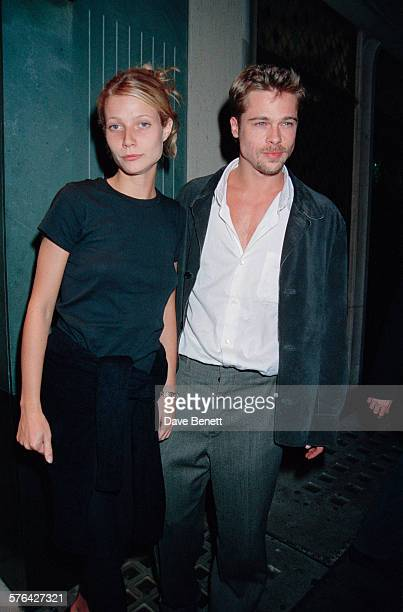 American actors Brad Pitt and Gwyneth Paltrow at The Ivy restaurant London 14th August 1985
