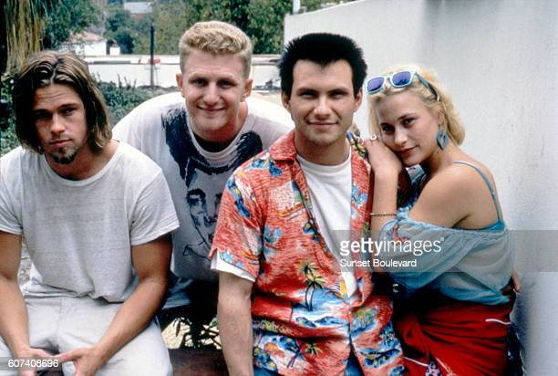 American actors Brad Pitt Michael Rapaport Christian Slater and Patricia Arquette on the set of True Romance written by Quentin Tarantino and...