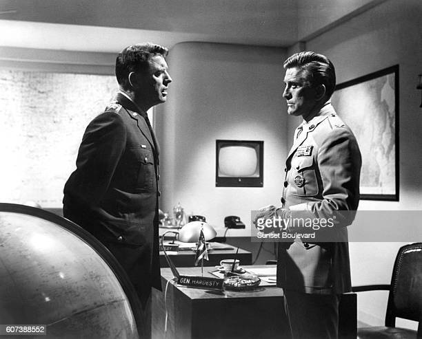 American actors Burt Lancaster and Kirk Douglas on the set of Seven Days in May, directed by John Frankenheimer.