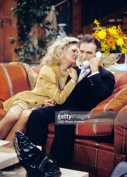 American actors Candice Bergen and Jay Thomas appear in a scene from an episode of the television series 'Murphy Brown' entitled 'The Gold Rush,' Los...