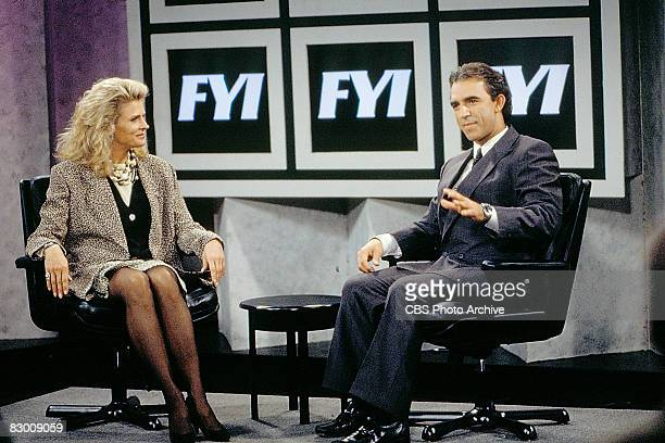 American actors Candice Bergen and Jay Thomas appear in a scene from an episode of the television series 'Murphy Brown' entitled 'The Gold Rush' Los...