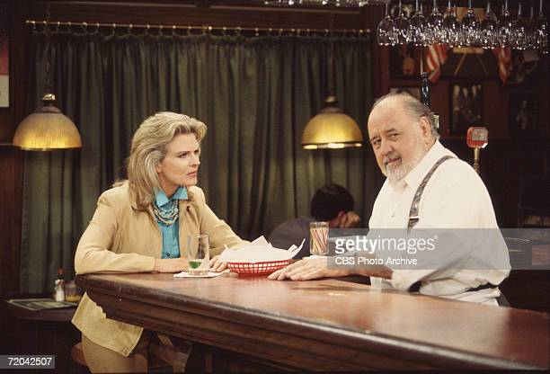 American actors Candice Bergen and Pat Corley appear together in an episode of the television series 'Murphy Brown' entitled 'Stepping Out' March 29...