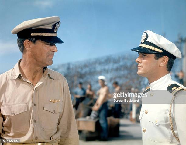 American actors Cary Grant and Tony Curtis on the set of Operation Petticoat directed by Blake Edwards