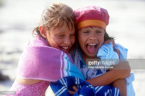 American actors Cassie Barasch and Ellie Raab shooting a scene while on location filming the movie 'Little Sweetheart' in 1987 on St George Island in...