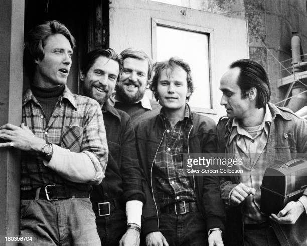 American actors Christopher Walken as Nick Robert De Niro as Michael Chuck Aspegren as Axel John Savage as Steven and John Cazale as Stan in a...