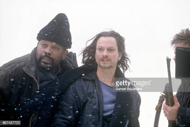 American actors Clarence Williams III and Gary Sinise on the set of Reindeer Games directed by John Frankenheimer