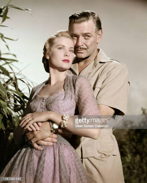 American actors Clark Gable as big game hunter Victor Marswell and Grace Kelly as Linda Nordley in a publicity still for the film 'Mogambo', 1953.
