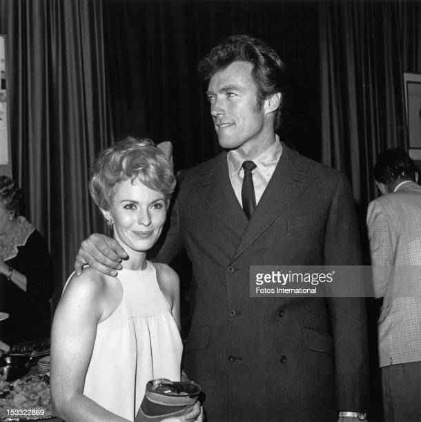 American actors Clint Eastwood and Jean Seberg at a cast party for Joshua Logan's musical 'Paint Your Wagon', in which they co-starred, Hollywood,...