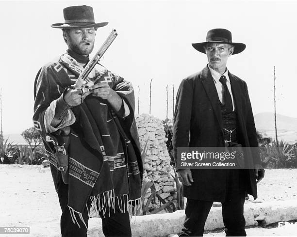 American actors Clint Eastwood and Lee Van Cleef star in the Sergio Leone western 'The Good, the Bad and the Ugly', 1966.