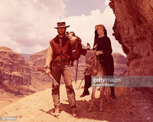 American actors Clint Eastwood and Shirley MacLaine on the set of Two Mules for Sister Sara directed by Don Siegel