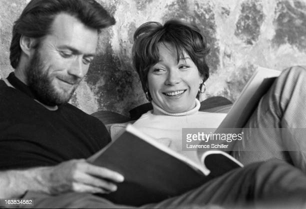 American actors Clint Eastwood and Shirley MacLaine share a laugh as they rehease lines for their performances in 'Two Mules for Sister Sara' Morelos...