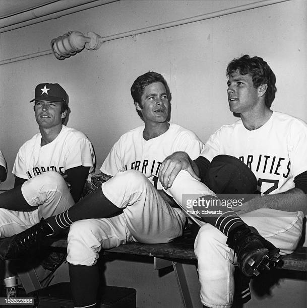 American actors Clint Eastwood Doug McClure and Ryan O'Neal at a celebrity baseball game Los Angeles February 1967