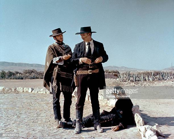 American actors Clint Eastwood, Lee Van Cleef and Italian Gian Maria Volonte on the set of For a Few Dollars More , written and directed by Sergio...