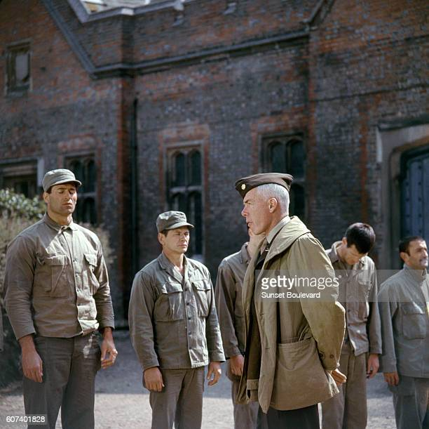 American actors Clint Walker, Charles Bronson and Lee Marvin on the set of The Dirty Dozen directed by Robert Aldrich.