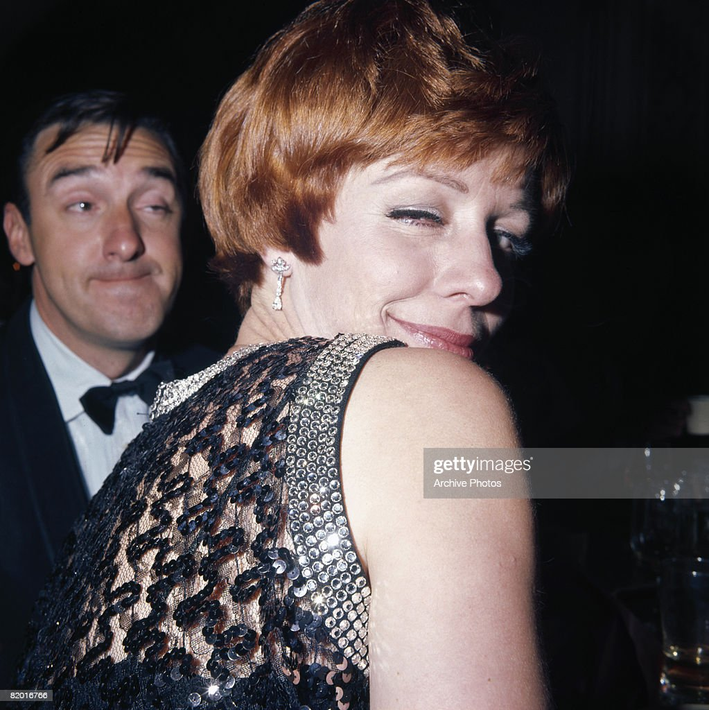 American actors, comedians and singers Jim Nabors and Carol Burnett attend an Academy Awards party in Hollywood, 10th April 1967.