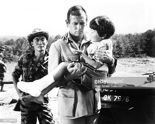 American actors David Janssen as George Beckworth and George Takei as Captain Nim in 'The Green Berets' directed by John Wayne Ray Kellogg and Mervyn...