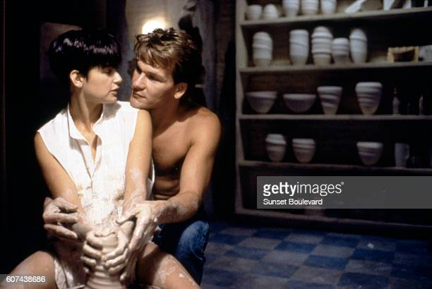 American actors Demi Moore and Patrick Swayze on the set of Ghost directed by Jerry Zucker