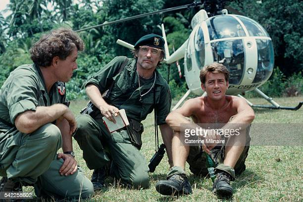 American actors Dennis Hopper and Martin Sheen on the set of the film Apocalypse Now directed by Francis Ford Coppola and based on Joseph Conrad's...