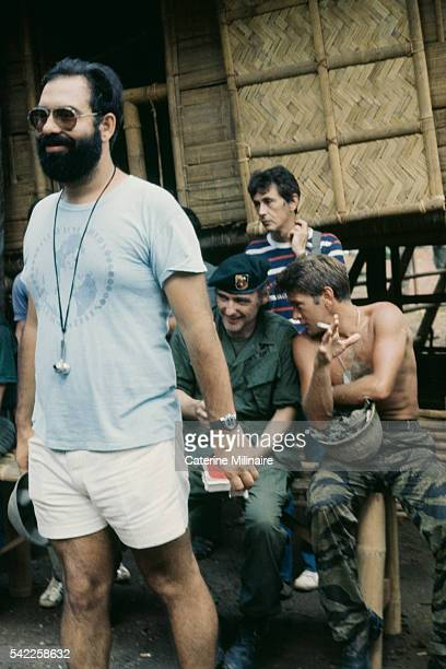 American actors Dennis Hopper and Martin Sheen with director Francis Ford Coppola on the set of the his movie Apocalypse Now based on Joseph Conrad's...