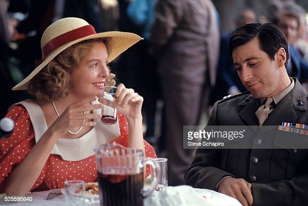 American actors Diane Keaton and Al Pacino during the filming of 'The Godfather' 1972