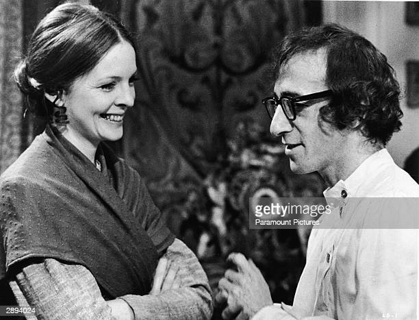 American actors Diane Keaton and Woody Allen share a laugh in a scene from 'Love and Death' directed by ALlen 1975