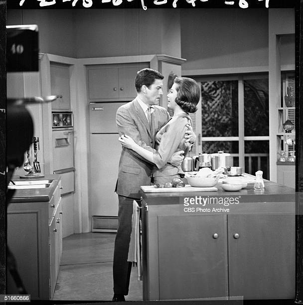 American actors Dick Van Dyke and Mary Tyler Moore hug in an episode of the American television series 'The Dick Van Dyke Show' titled 'Father of the...