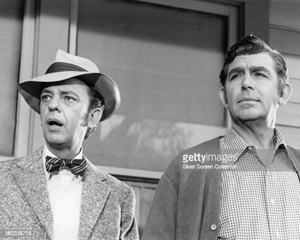 American actors Don Knotts as Barney Fife and Andy Griffith as Sheriff Andy Taylor in the US sitcom 'The Andy Griffith Show' circa 1965
