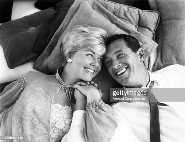 American actors Doris Day and Rock Hudson in a scene from the Universal-International comedy 'Pillow Talk,' 1959.