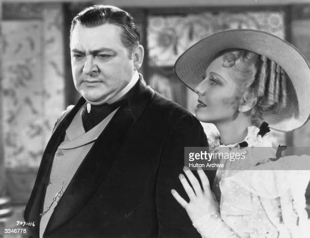 American actors Edward Arnold and Jean Arthur star in 'Diamond Jim' a film about the life of a millionaire playboy directed by A Edward Sutherland...