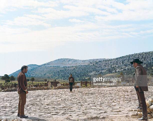 American actors Eli Wallach, Clint Eastwood and Lee Van Cleef on the set of The Good, The Bad and The Ugly , written and directed by Italian Sergio...