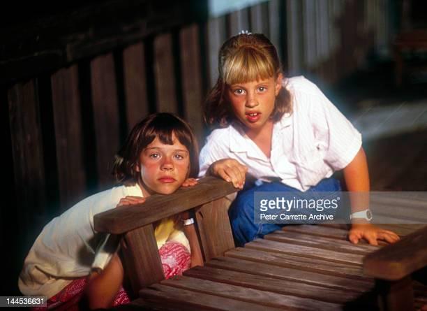 American actors Ellie Raab and Cassie Barasch shooting a scene while on location filming the movie 'Little Sweetheart' in 1987 on St George Island in...