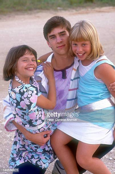 American actors Ellie Raab James Waterston and Cassie Barasch on location filming the movie 'Little Sweetheart' in 1987 on St George Island in Florida
