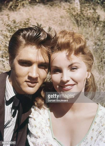 American actors Elvis Presley and Debra Paget on the set of Love Me Tender directed by Robert D Webb