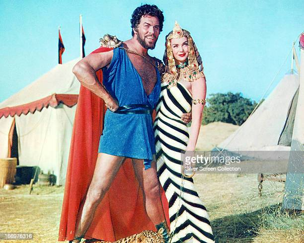 American actors Esther Williams as Amytis and Howard Keel as Hannibal in a publicity still for 'Jupiter's Darling' directed by George Sidney 1955