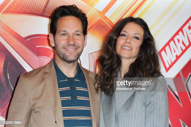 American actors Evangeline Lilly and Paul Rudd during the photocall of the film 'AntMan and the Wasp' presented in the De Russie Hotel Rome July 19th...