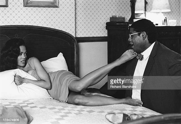 American actors Forest Whitaker as Jackson and Robin Givens as Imabelle in a scene from the film 'A Rage in Harlem' 1991