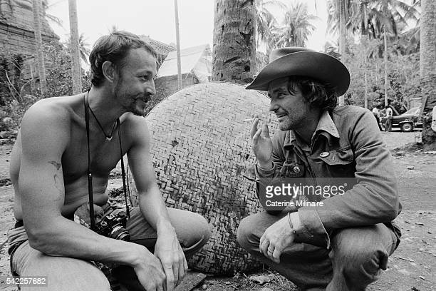 American actors Frederic Forrest and Dennis Hopper on the set of the film Apocalypse Now directed by Francis Ford Coppola and based on Joseph...
