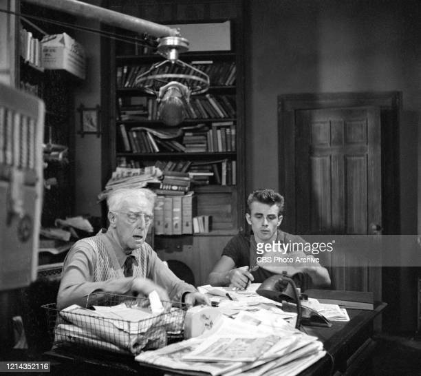 American actors from left Walter Hampdon and James Dean in a production still from an episode of the anthology series 'Danger' called 'Death Is My...
