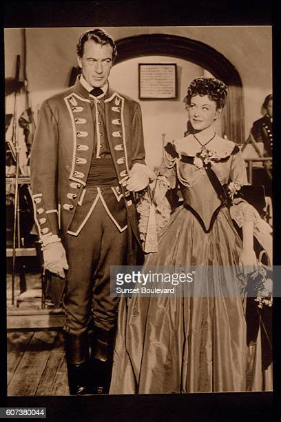 American actors Gary Cooper and Paulette Goddard on the set of Unconquered directed by Cecil B DeMille