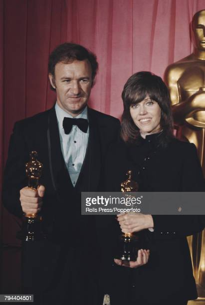 American actors Gene Hackman and Jane Fonda pictured holding their Academy Awards at the 44th Academy Awards at the Dorothy Chandler Pavilion in Los...
