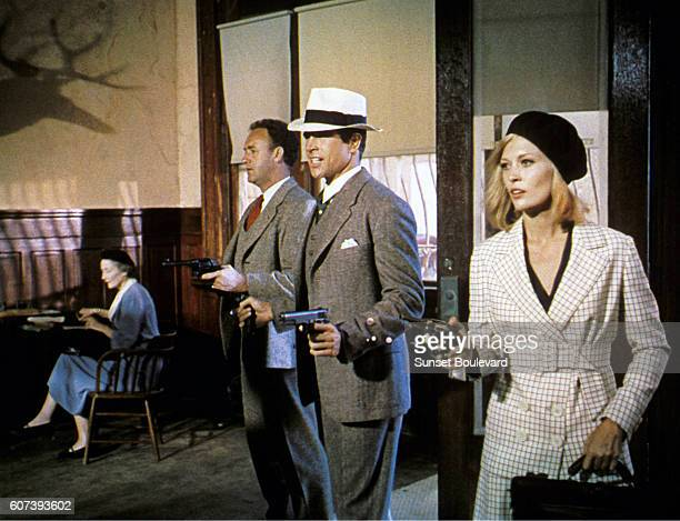 American actors Gene Hackman Warren Beatty and Faye Dunaway on the set of Bonnie and Clyde directed by Arthur Penn