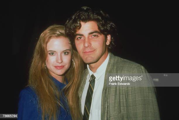 American actors George Clooney and Kelly Preston, circa 1985.