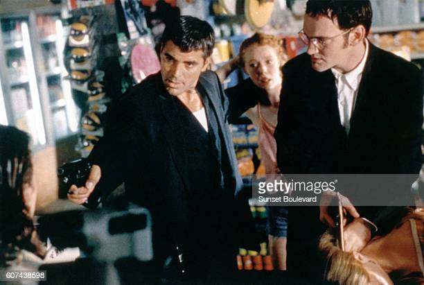 American actors George Clooney and Quentin Tarantino on the set of From Dusk Till Dawn directed and produced by Robert Rodriguez