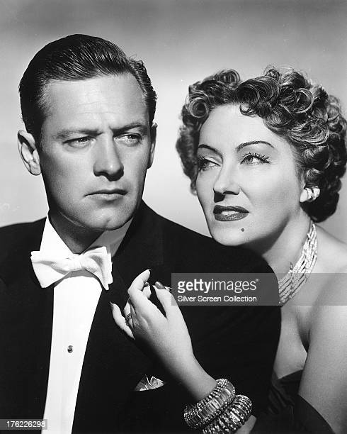 American actors Gloria Swanson and William Holden in a promotional portrait for 'Sunset Boulevard' directed by Billy Wilder 1950